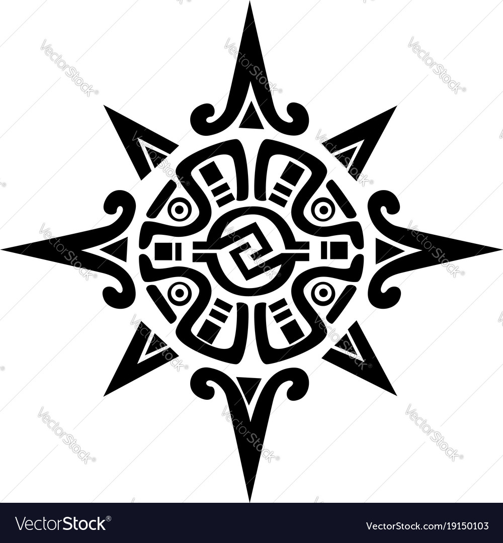 ac9445f012320 Mayan or incan symbol of a sun or star Royalty Free Vector