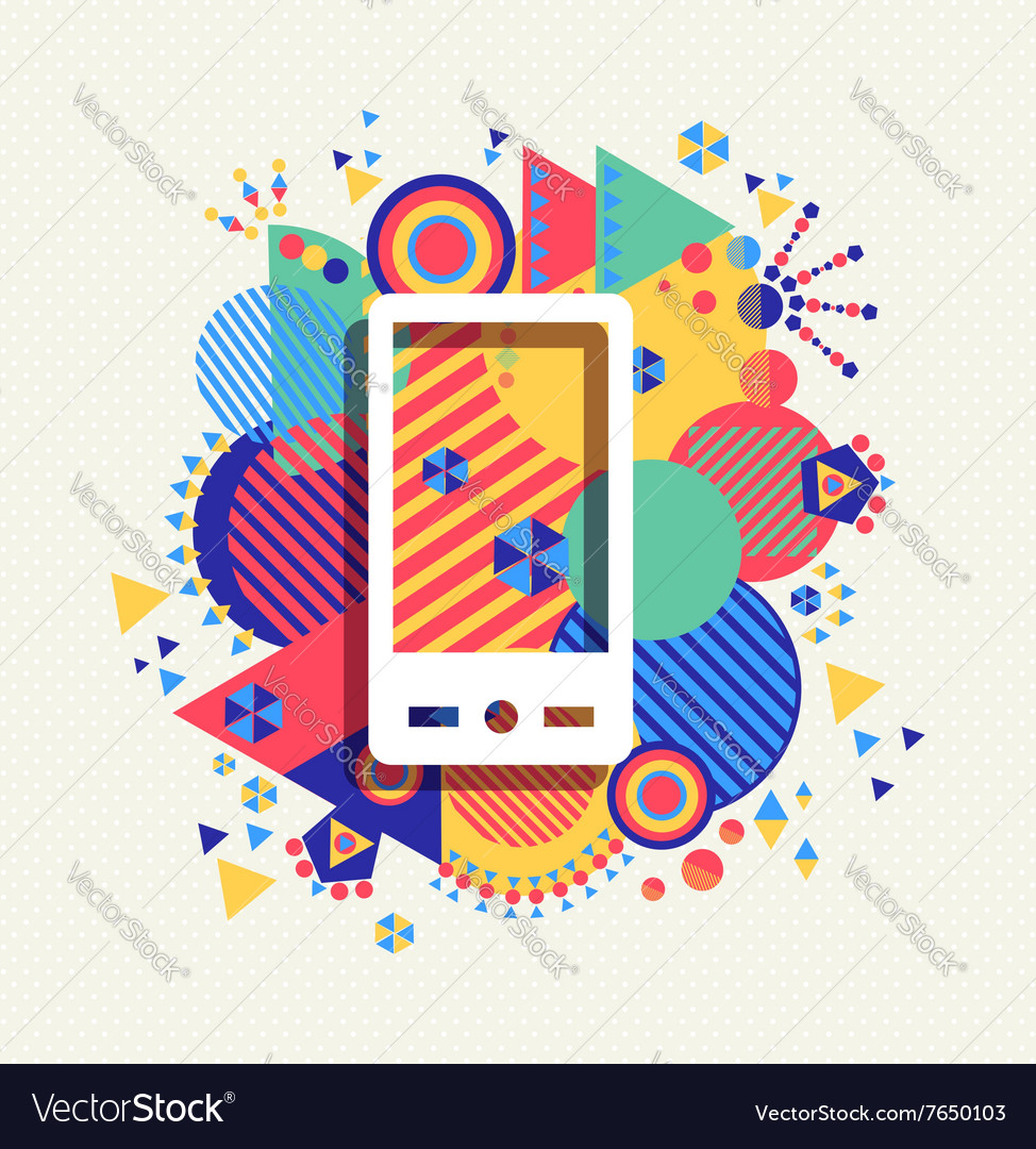 Mobile phone icon color vibrant shape background