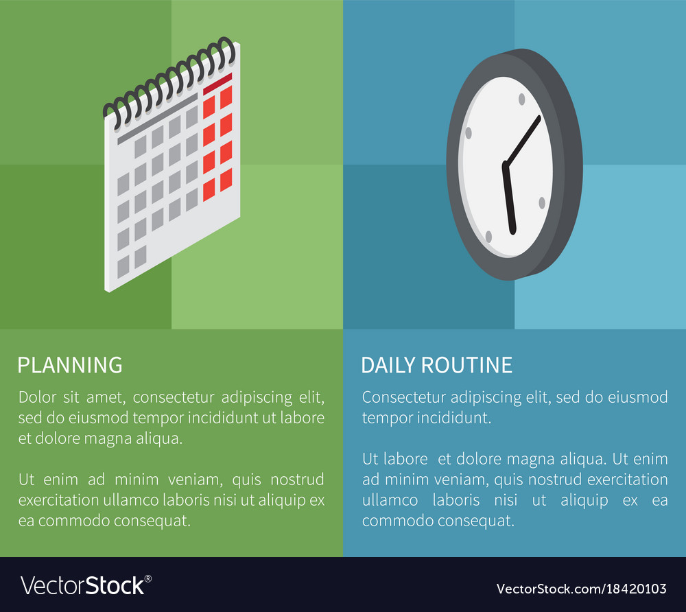 planning daily routine template poster royalty free vector