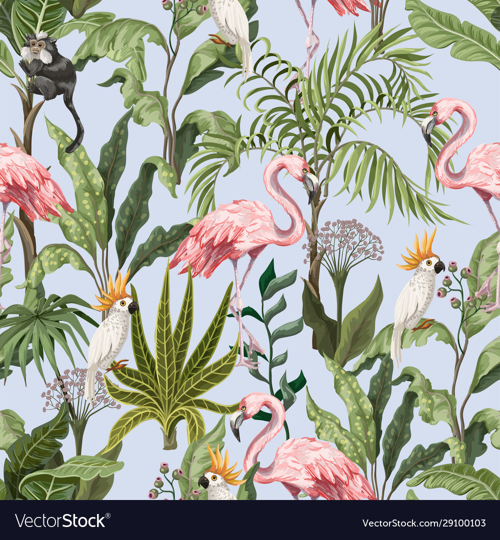 Seamless pattern with jungle trees flamingo and