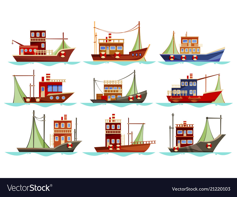 Set of isolated trawler or ship boat for fishing