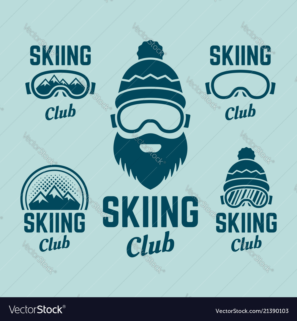 Skiing club colored colored emblems