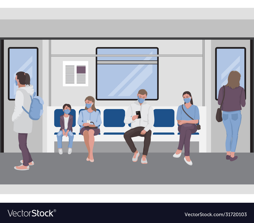 Social distancing people inside a subway train