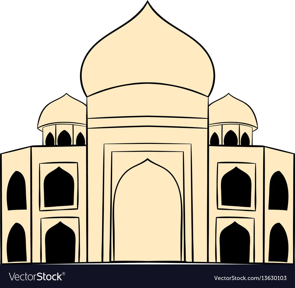 Taj mahal india icon cartoon