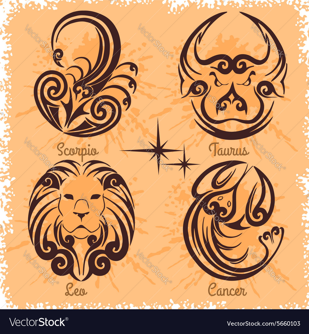 Zodiac Signs Cancer Leo Taurus Scorpio Vector Image