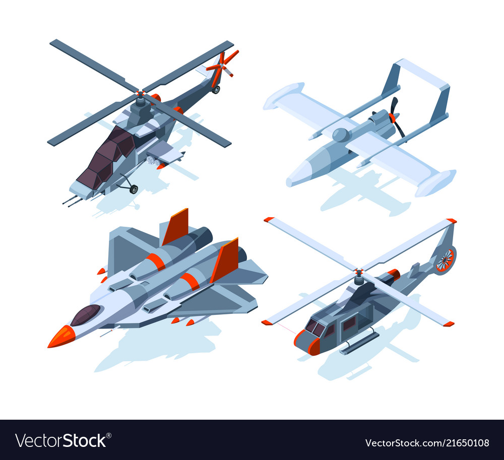 Aircraft isometric warplanes and helicopter