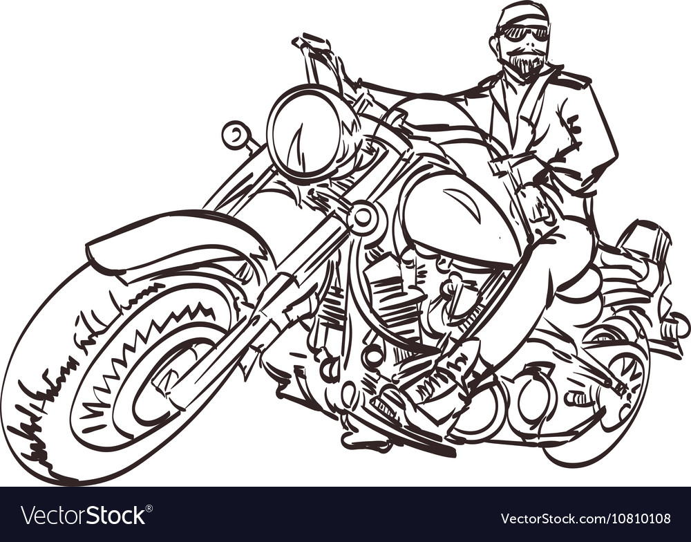 Biker On The Freedom Trip An Hand Drawn Royalty Free Vector