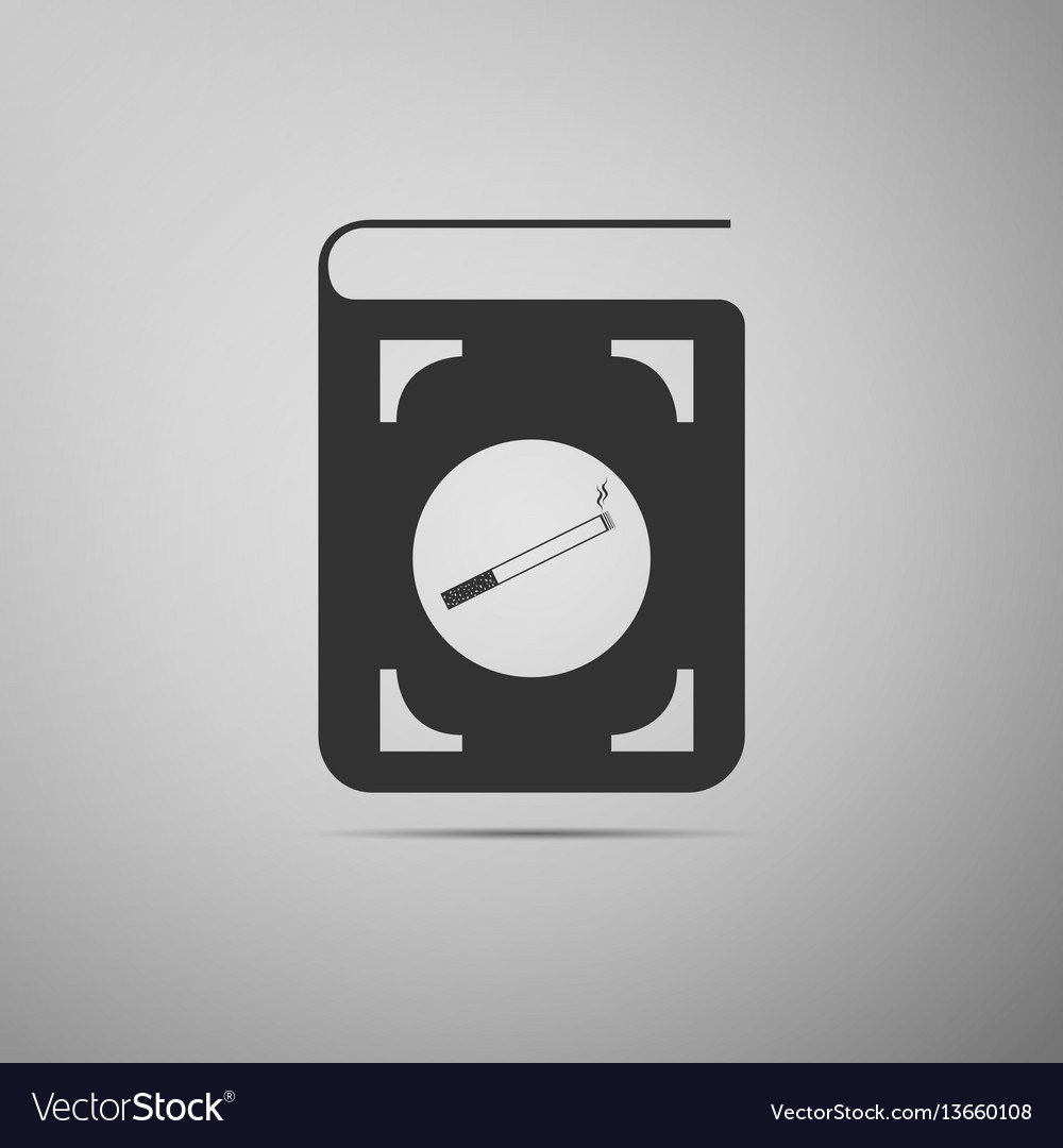 Book icon with cigarette flat icon on grey vector image