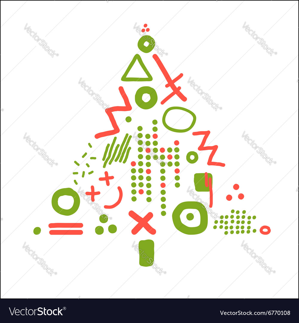 Card with abstract christmas tree