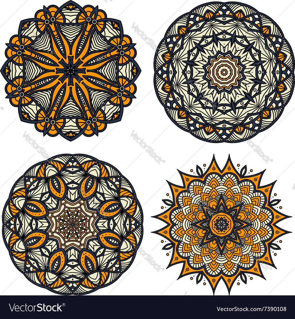 Circular patterns of abstract floral ornaments vector image