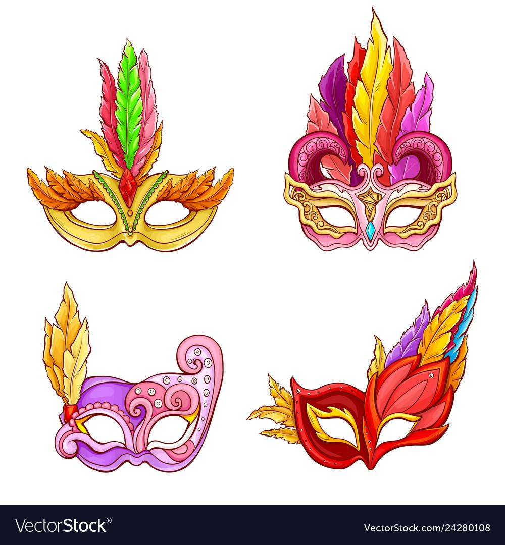Colombina masks with feathers cartoon set