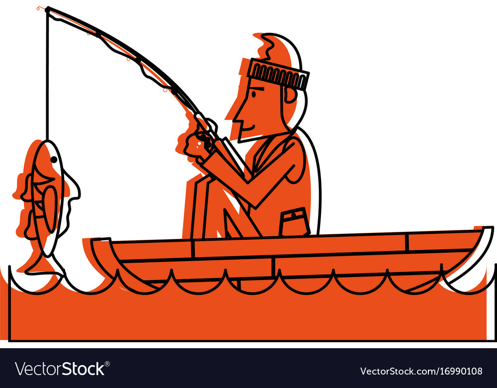 Fisherman on boat icon image