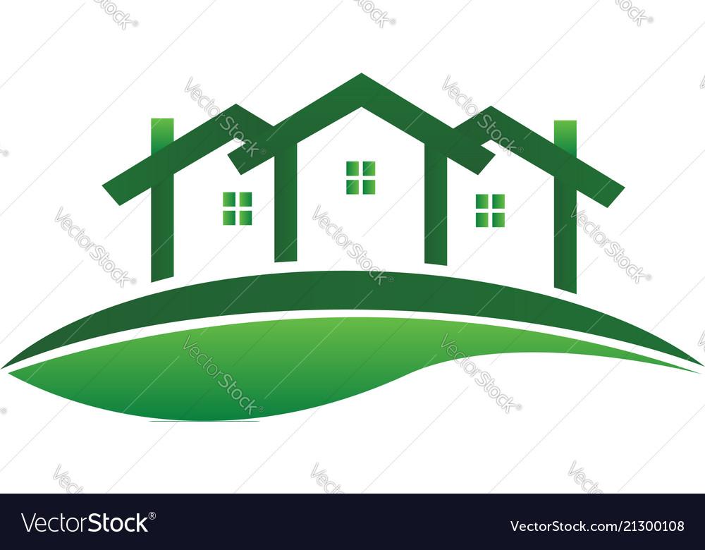 Green houses real estate community logo
