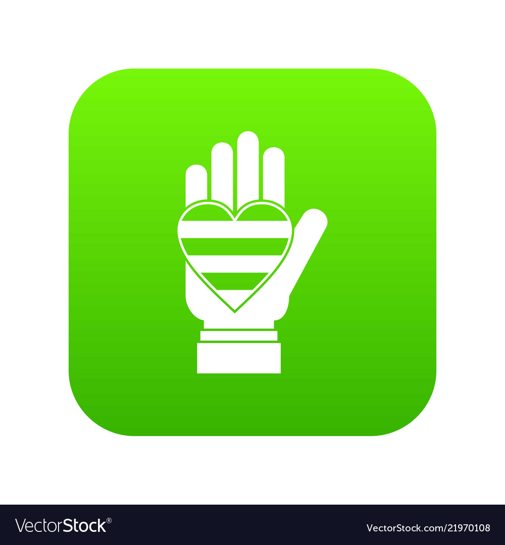 Hand holding heart of lgbt icon digital green