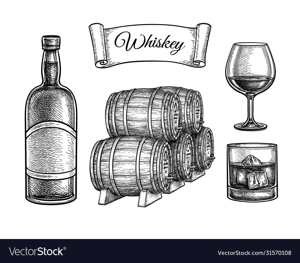 Ink sketch set whiskey