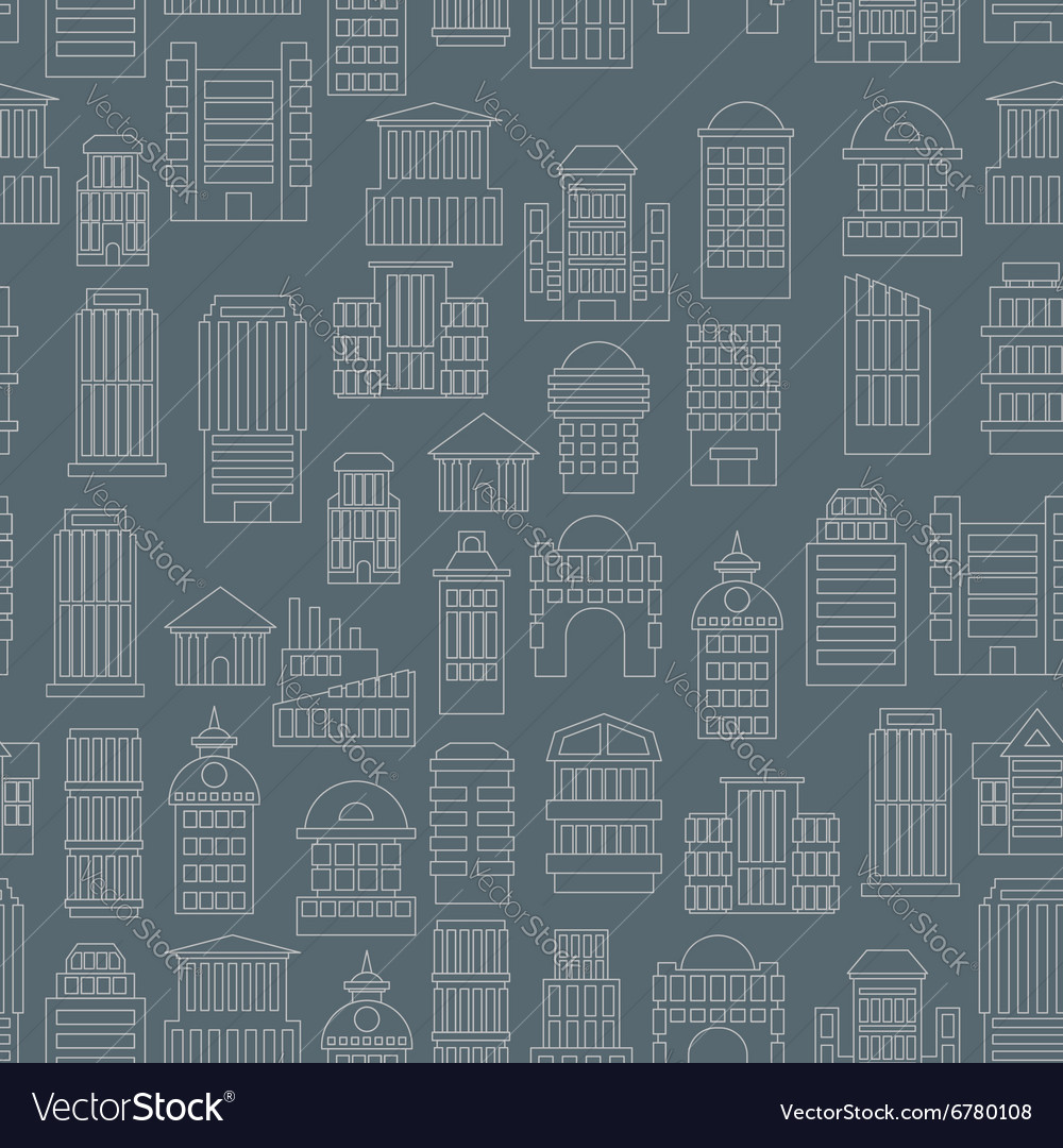 Night city pattern Silhouettes of buildings in the