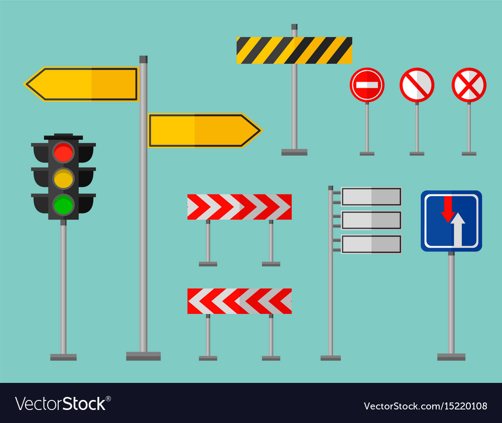Road symbols traffic signs graphic elements