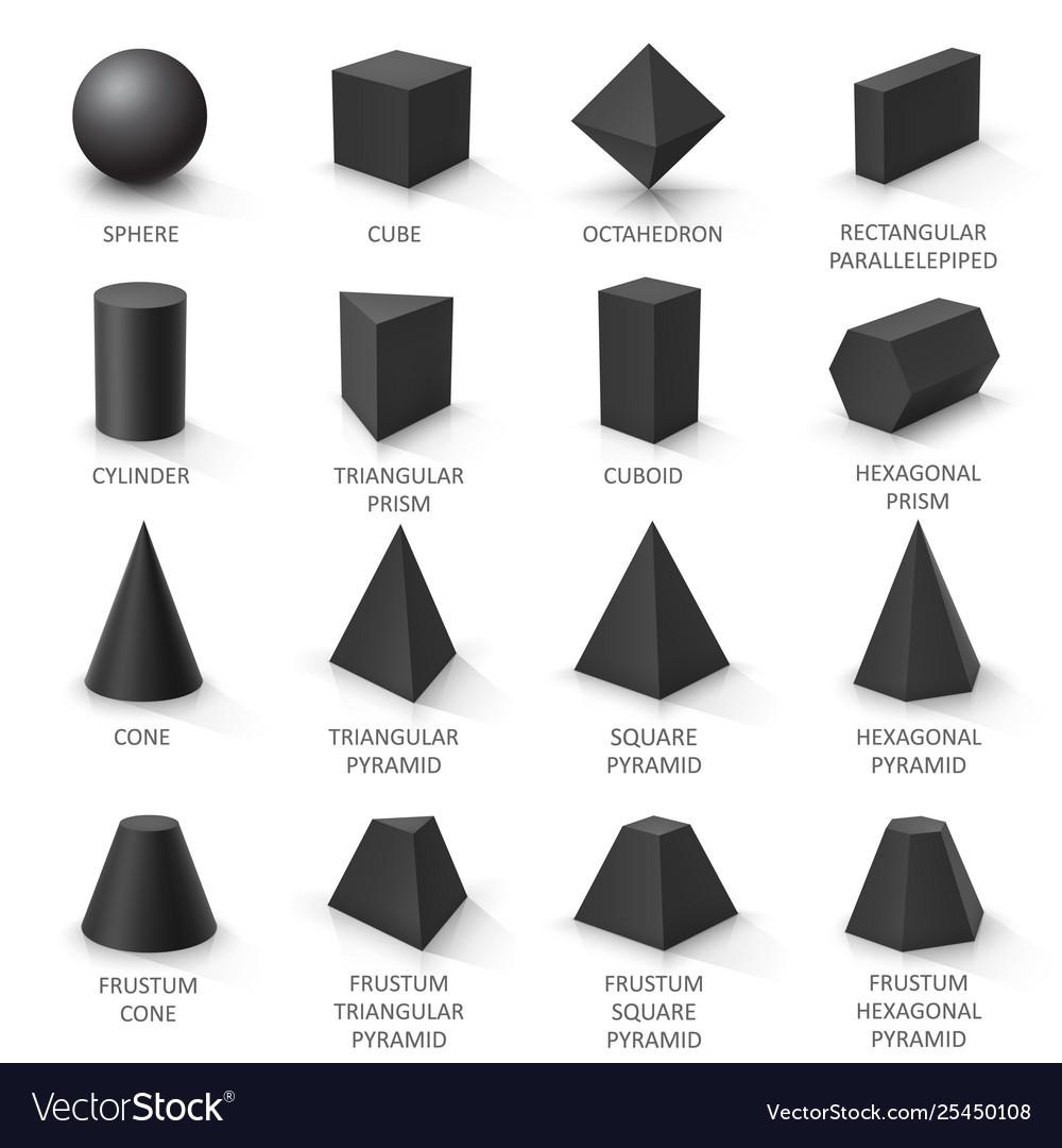 Set basic 3d shapes black geometric solids on