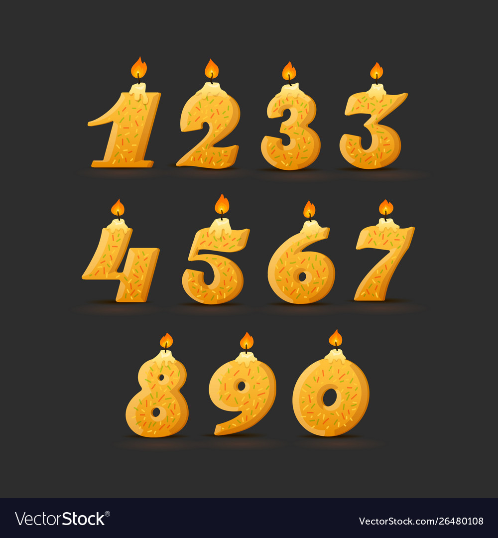 Set colorful birthday candle numbers