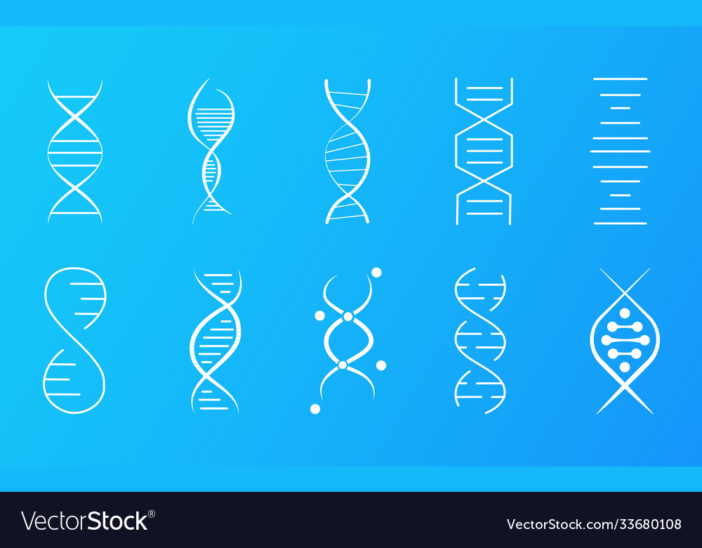 Set dna icons showing helical molecule