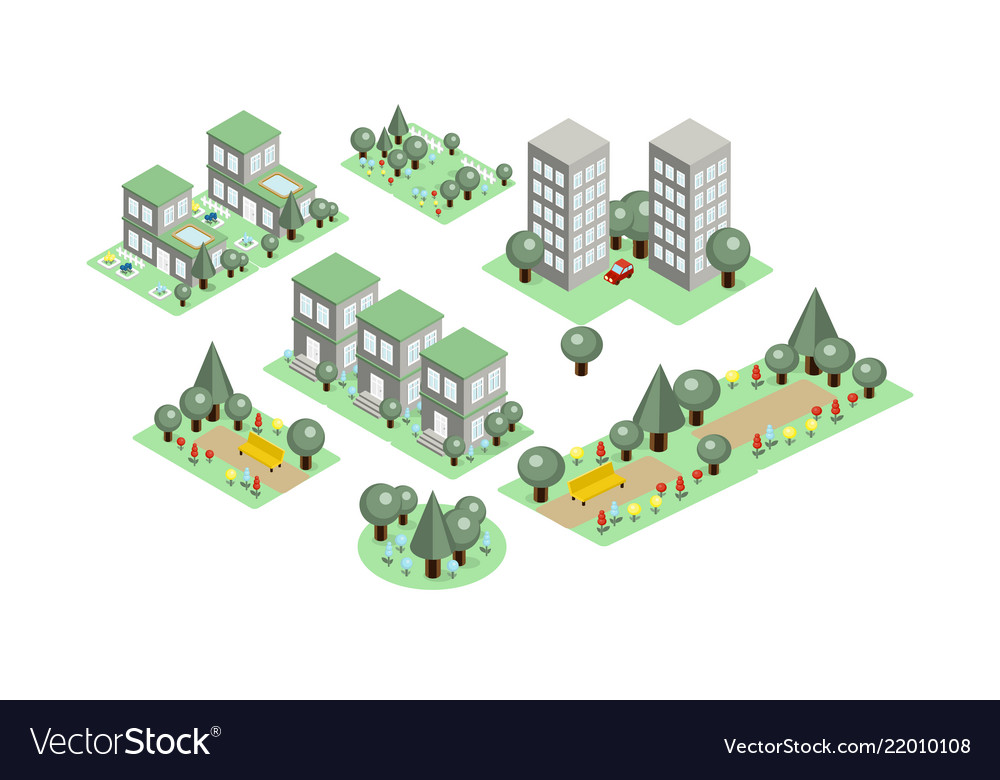 Set of isometric city elements parks with