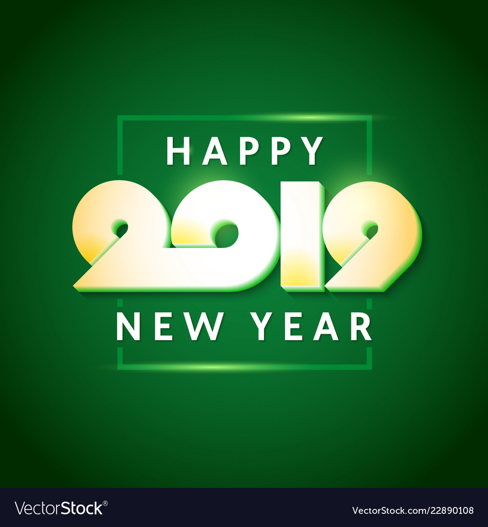 Text design of happy new year 2019