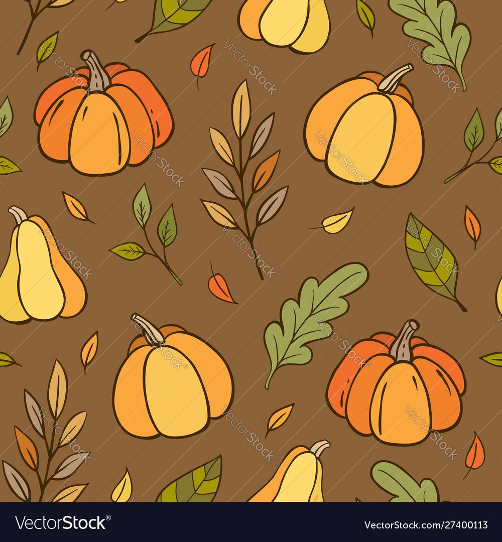 Autumn seamless pattern with pumpkins