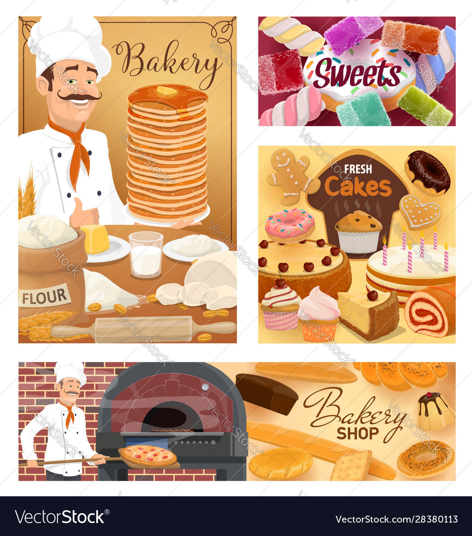 Bakery food pastry sweets and baker shop desserts