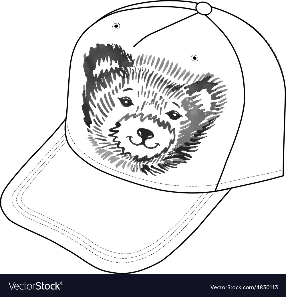Bear smiling snout logo on the cap vector image