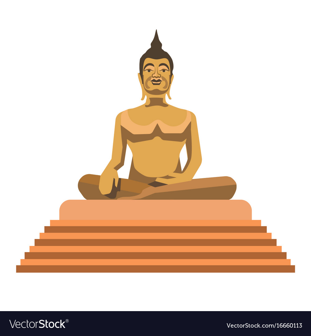 big gold buddha statue with stairs isolated vector image