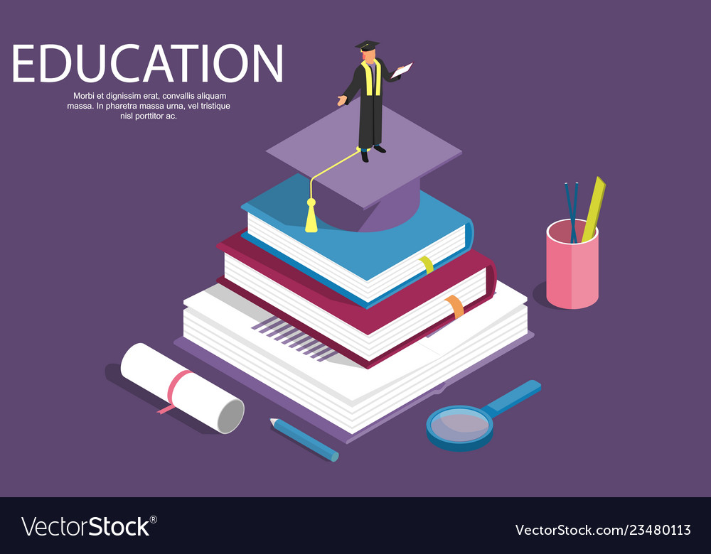 Books step education isometric concept
