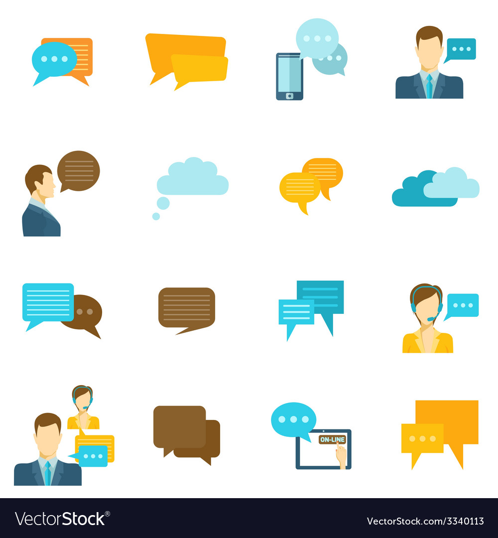 Chat icons flat