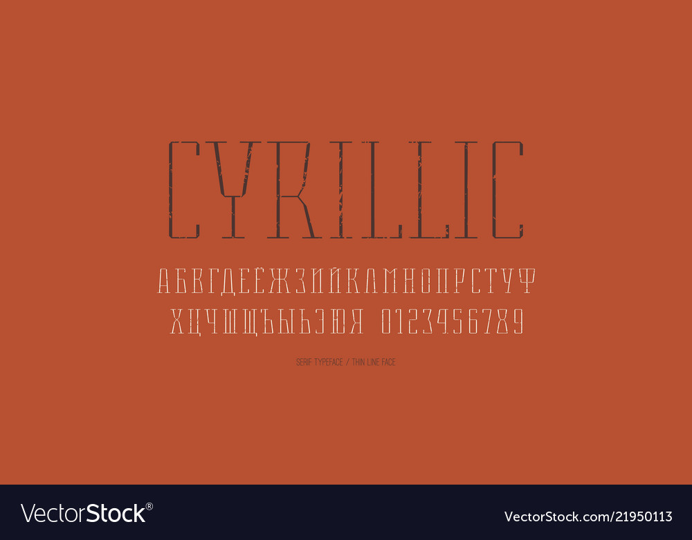 Condensed serif font in thin line style