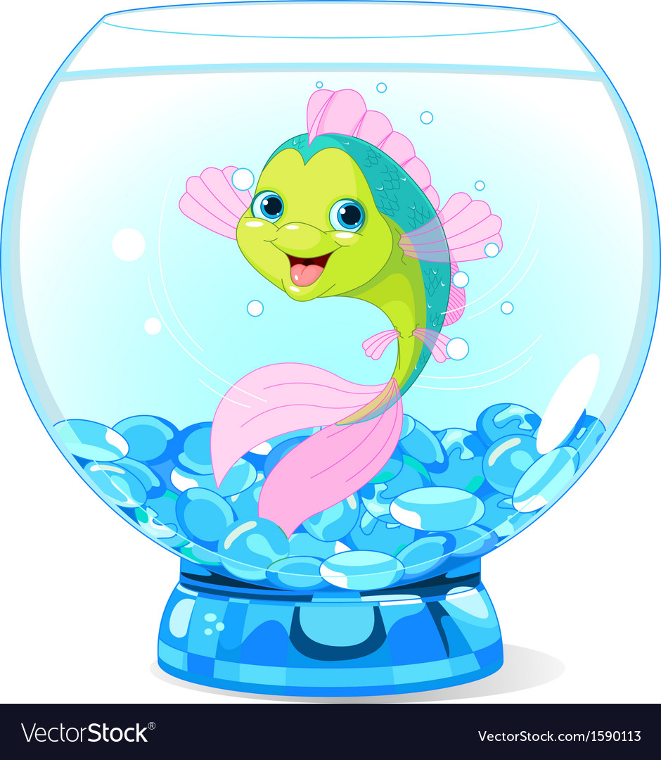 Cute Cartoon Fish In Aquarium Vector Art Download Water