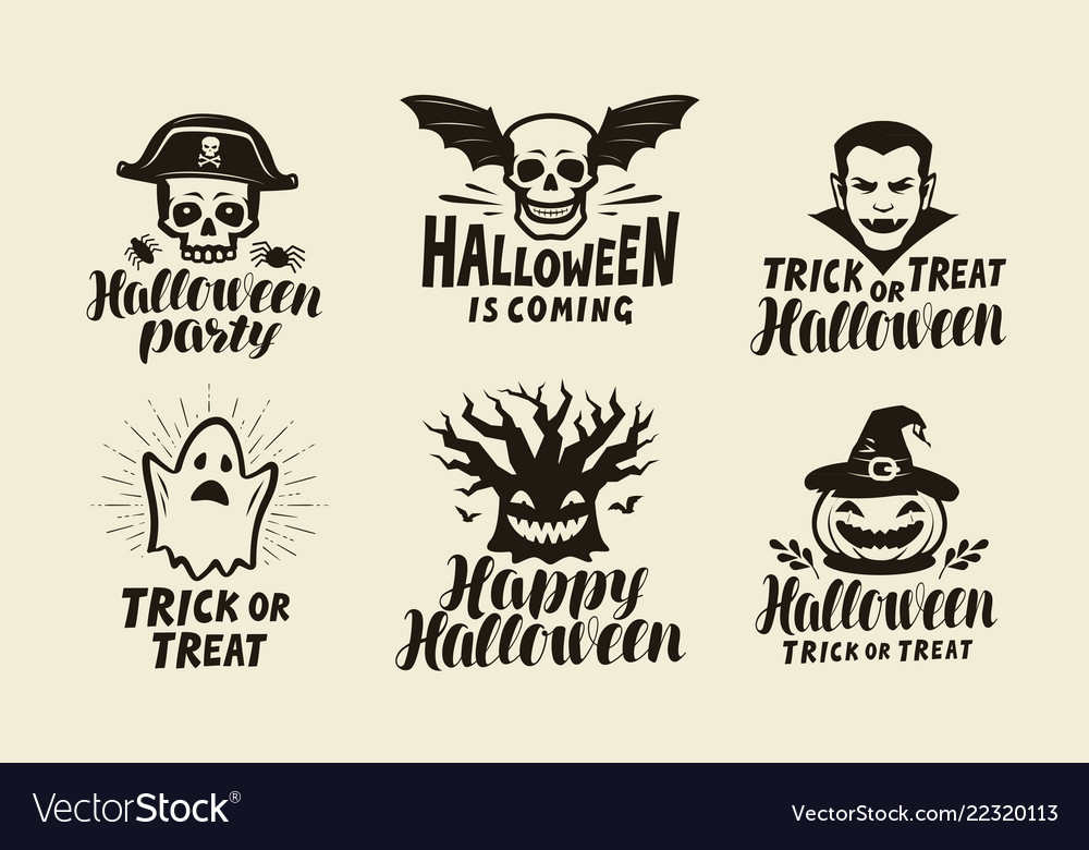 Halloween labels holiday symbol