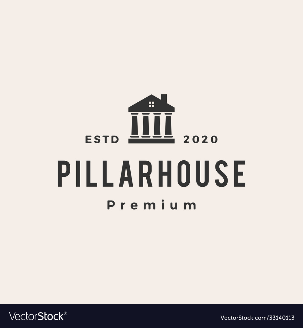 Law pillar house hipster vintage logo icon