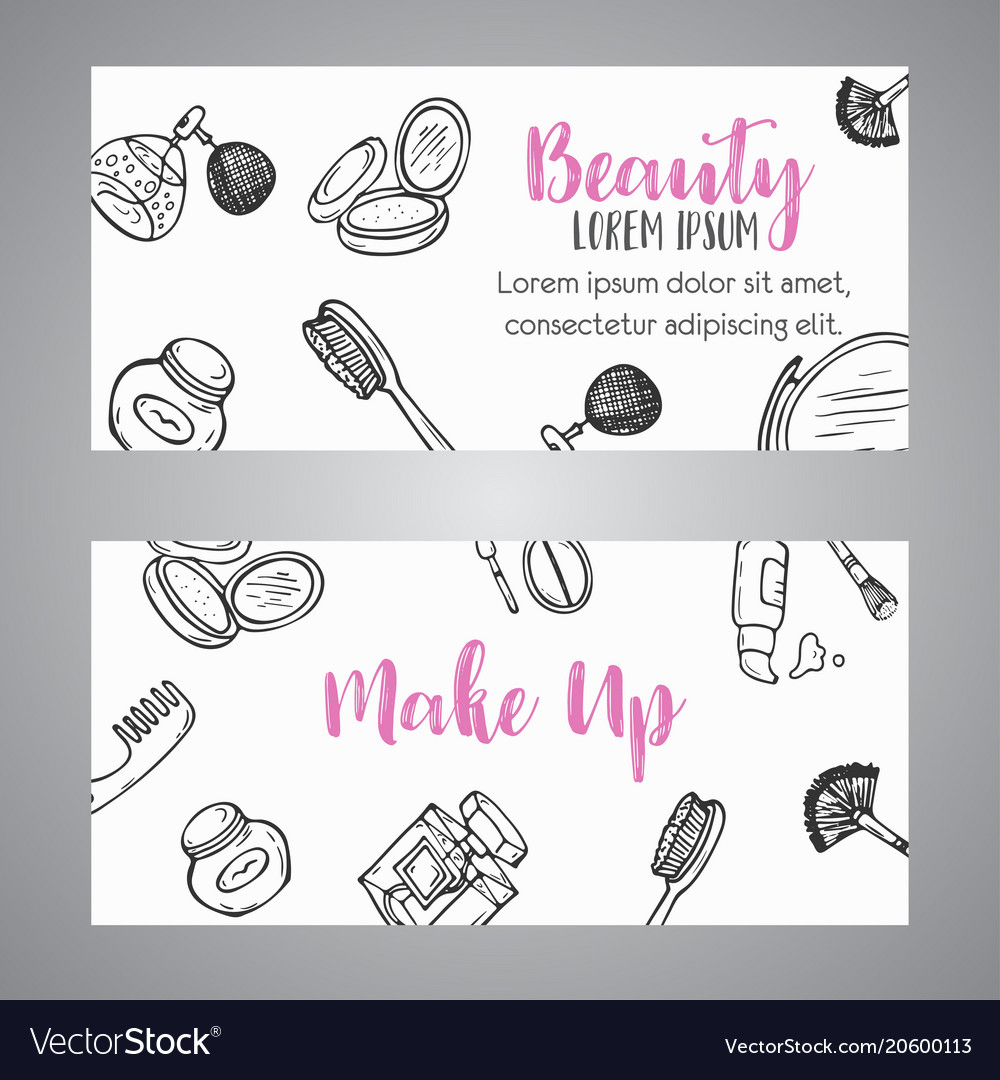 Makeup Business Banner Cosmetics Items Advert For Vector Image