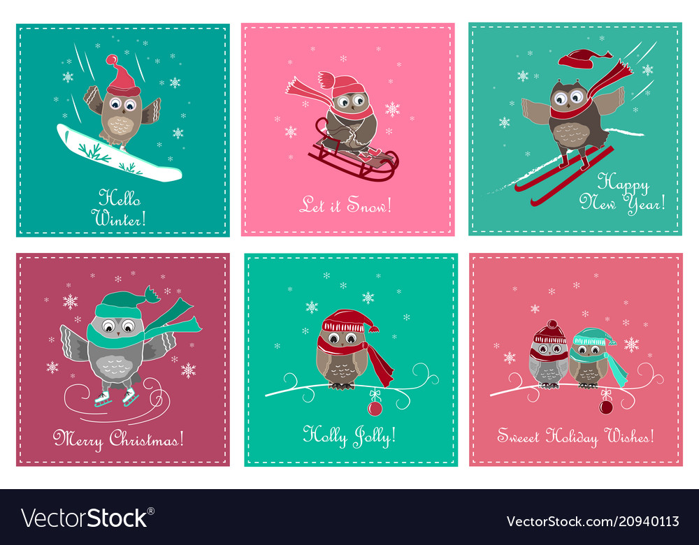Set of greeting card with cute owls