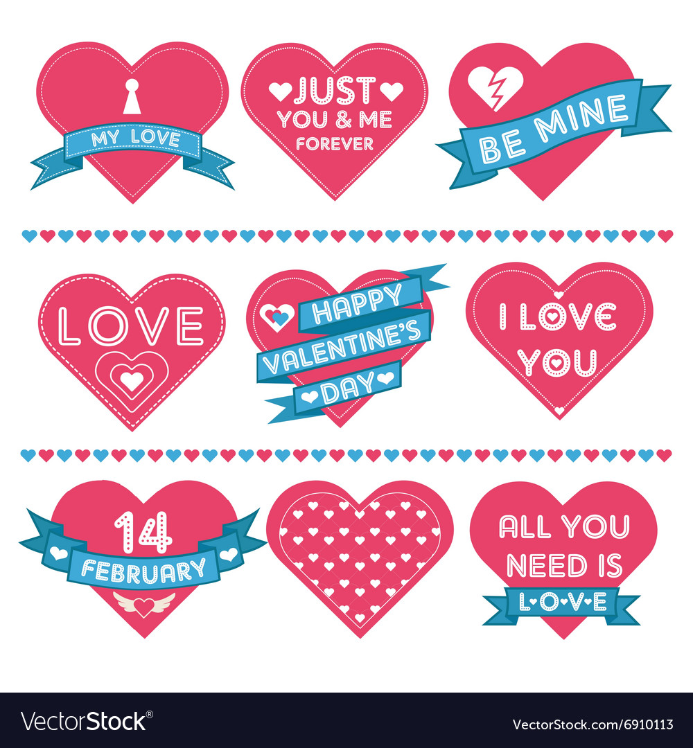 Set of Hearts for Valentines Day Celebration vector image