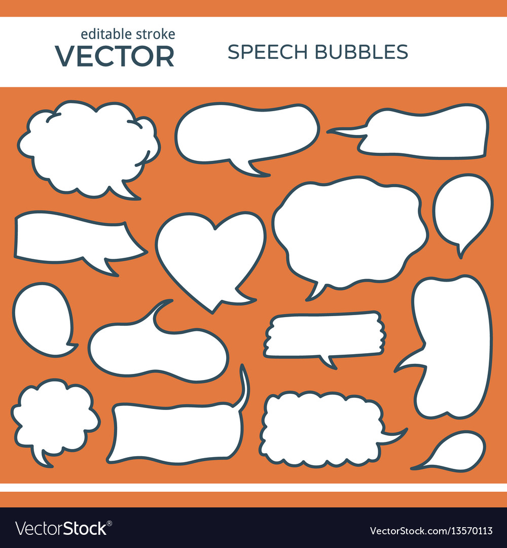 Sketched speech bubbles with editable stroke