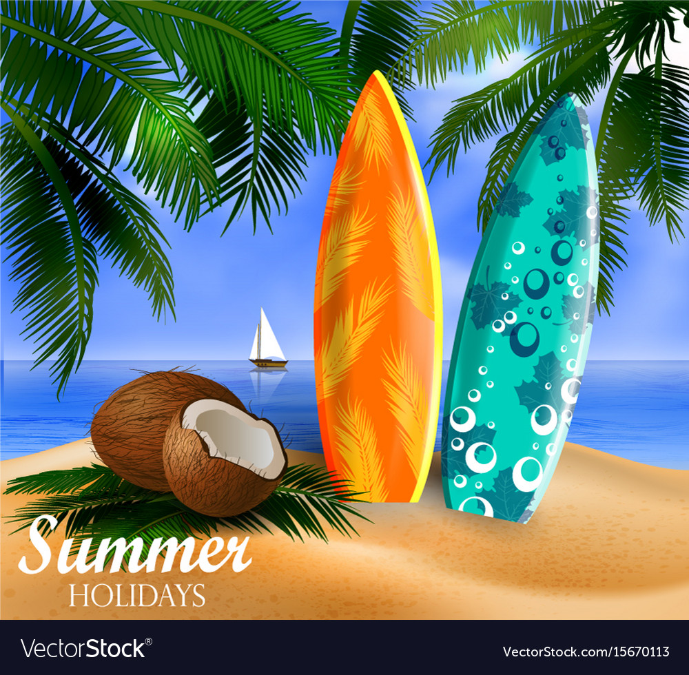Surfboards on a beach against a sunny seascape vector image