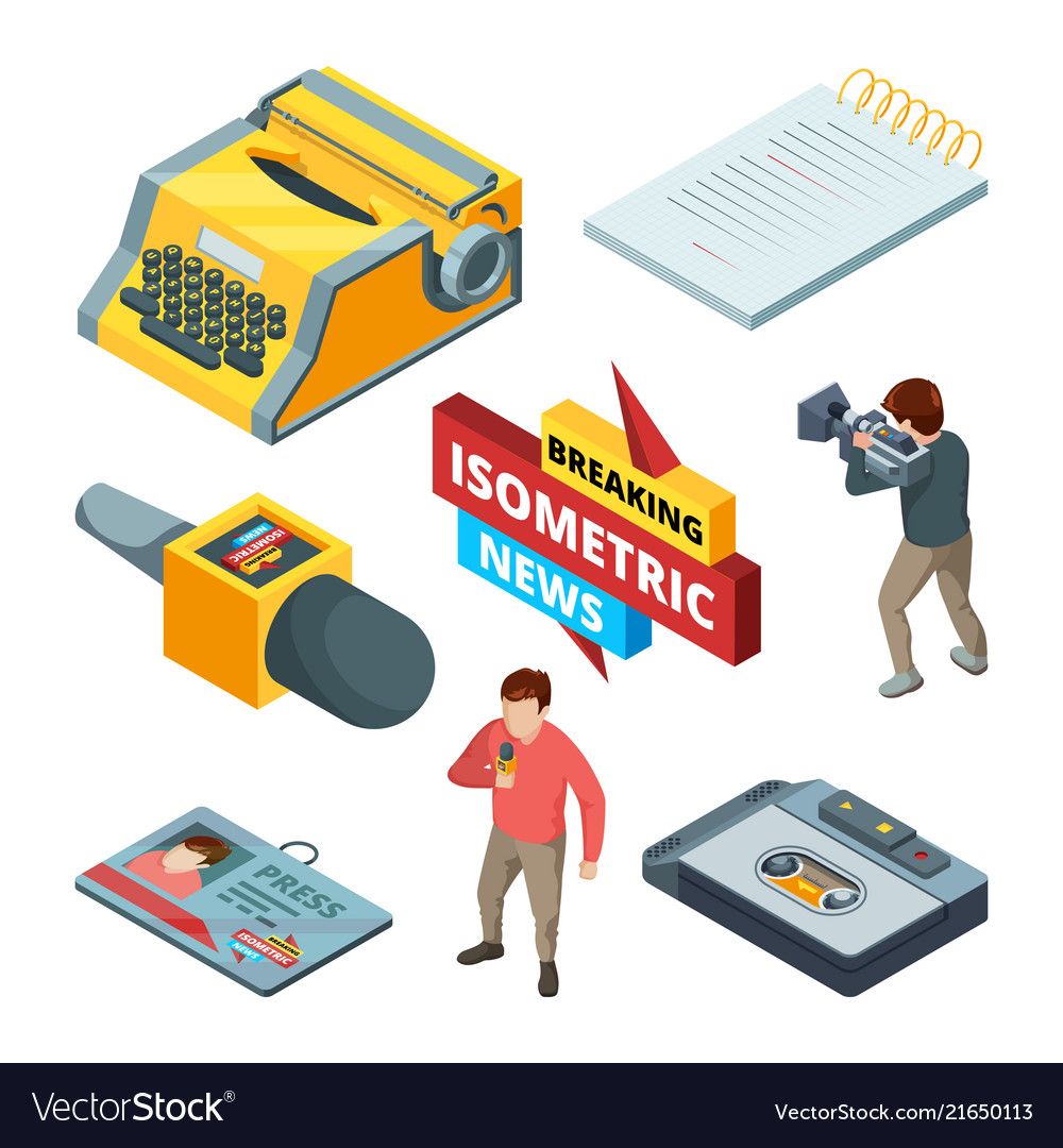 Video news and journalistic isometric pictures