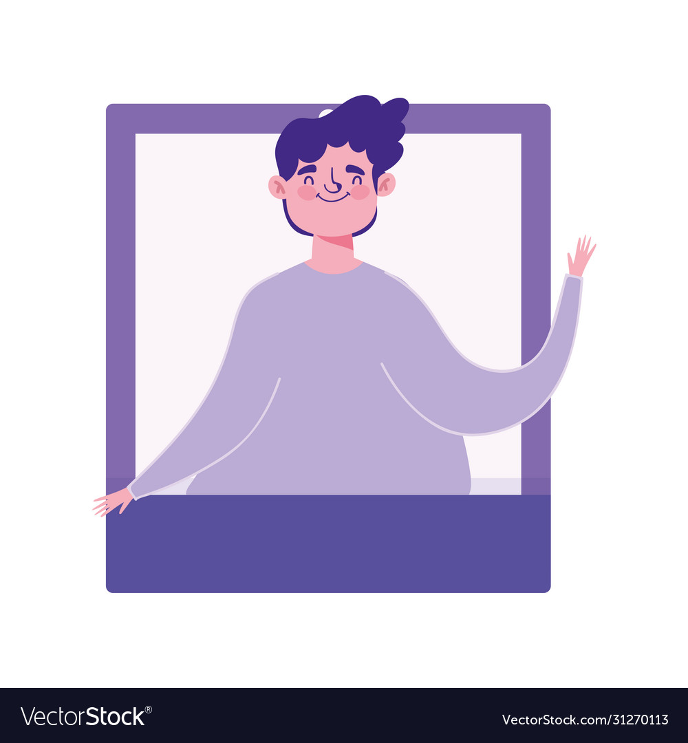 Young man video call technology character isolated