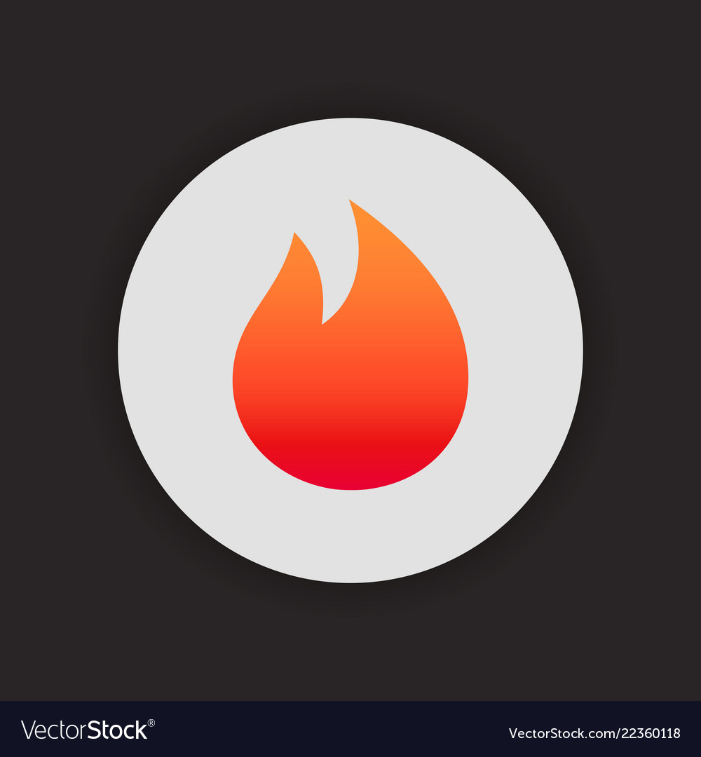 Fire simple icon on circle gradient color flame