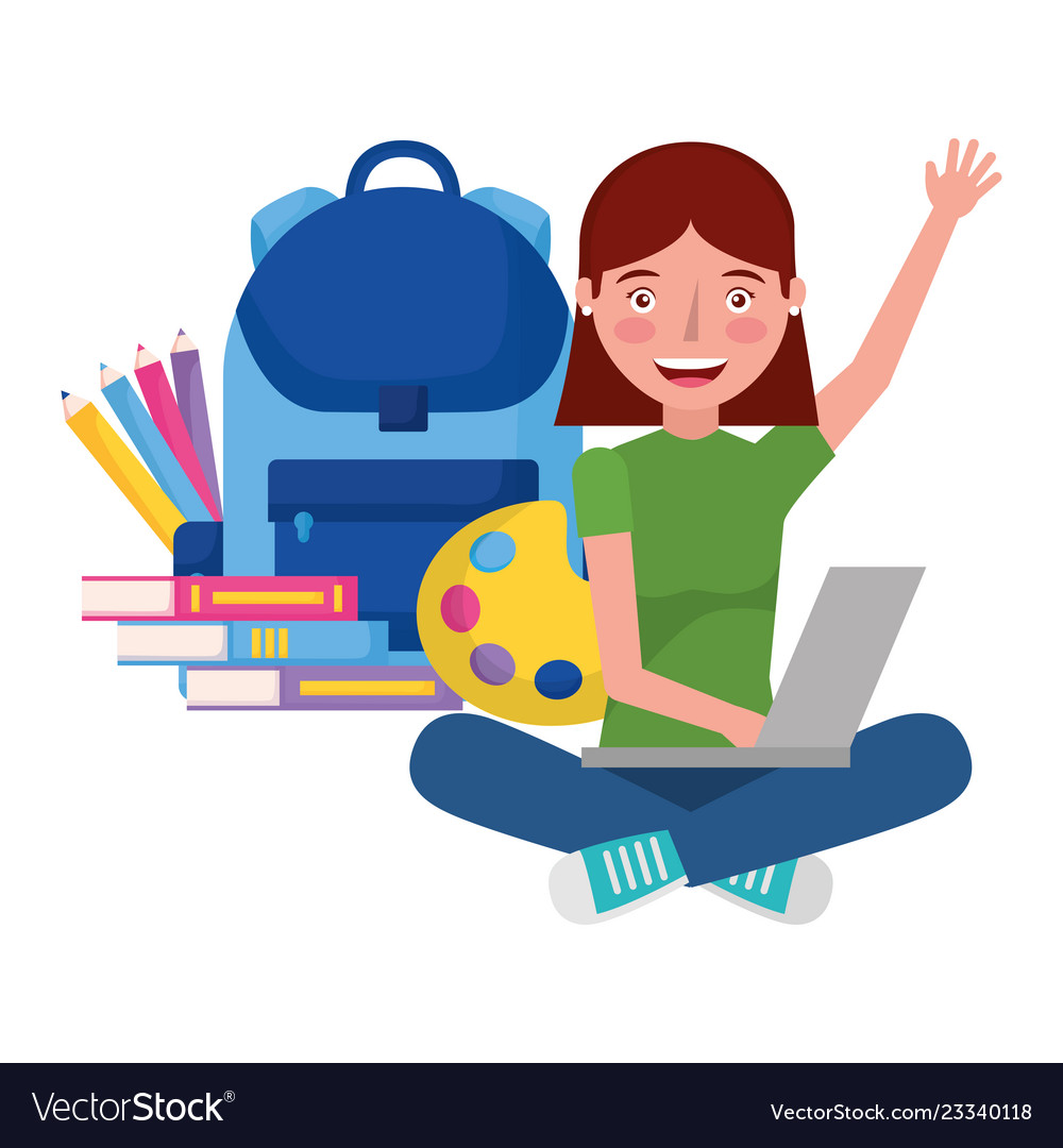 Girl with laptop backpack and books education