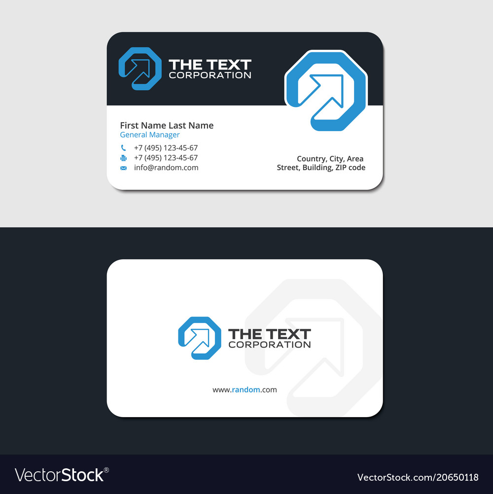 Leadership business cards template blue color vector image reheart Choice Image