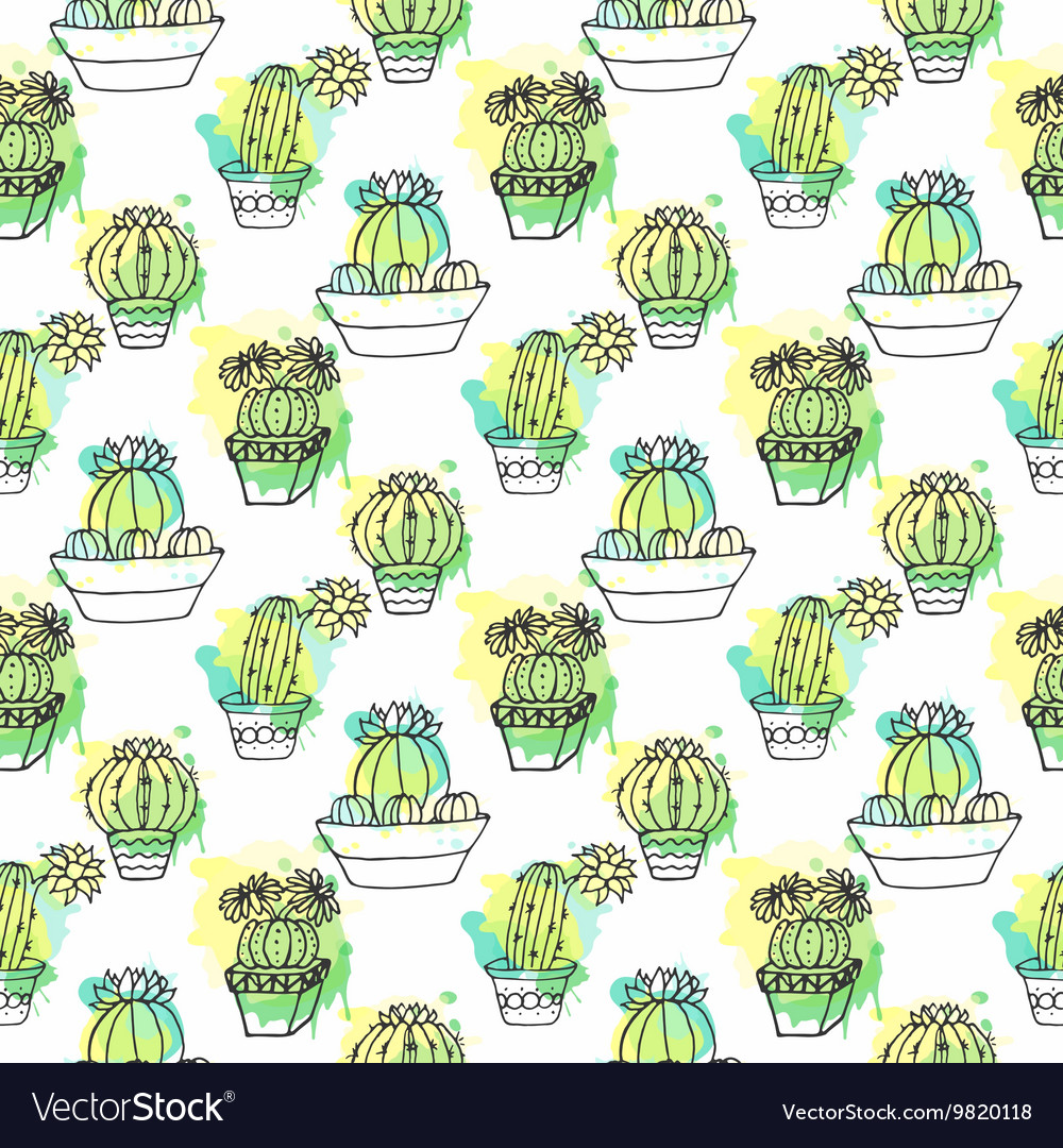 Seamless pattern with cactus Colorful