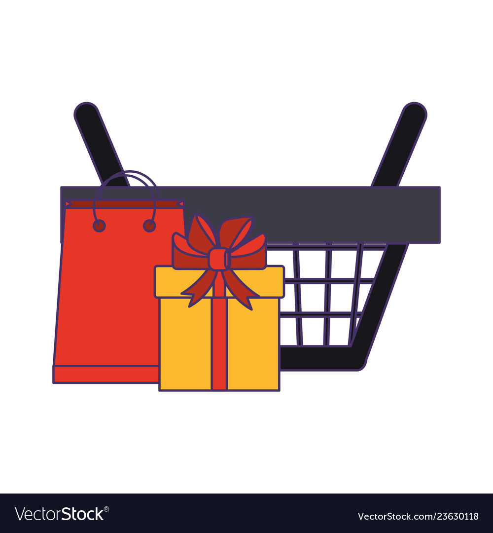 Shopping basket with gift box and bag blue lines
