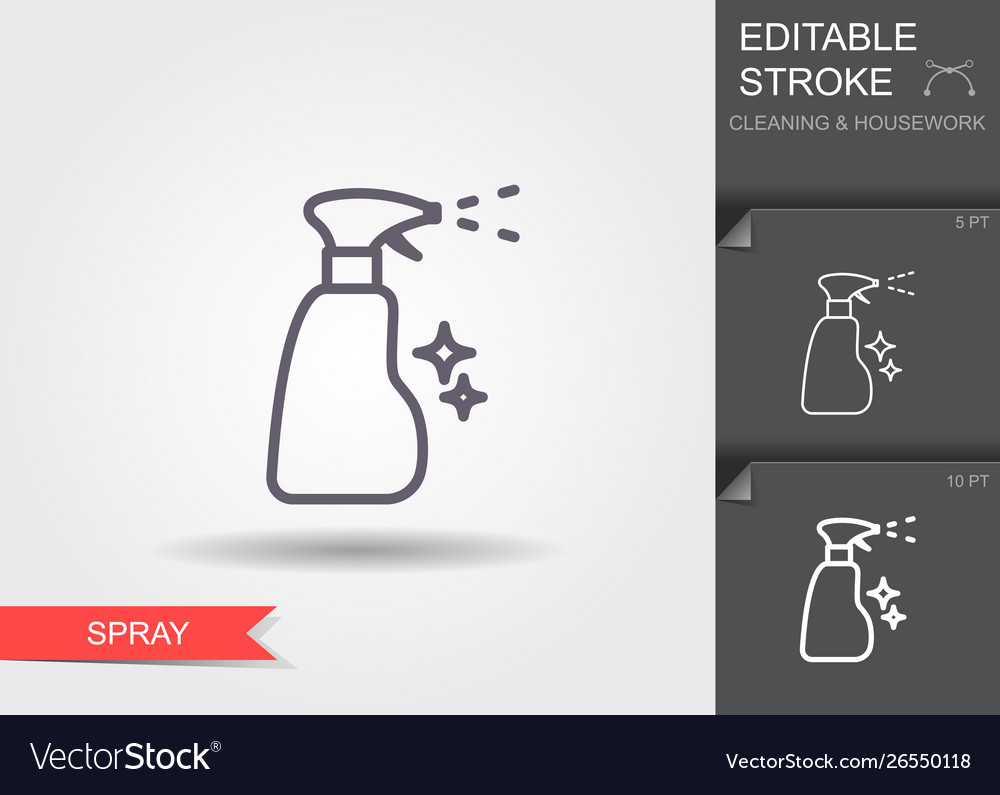 Spray bottle line icon with editable stroke with
