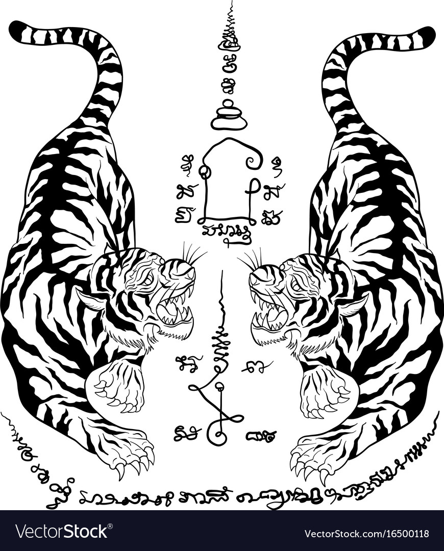 d540da0f2 Thai tradition tattoo tiger Royalty Free Vector Image